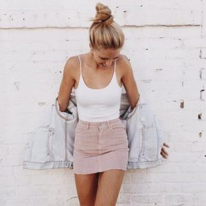 Pink Corduroy Skirt Brandy Melville